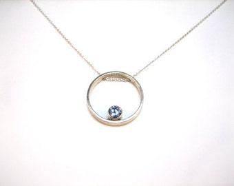 Simple Circle Aquamarine Necklace