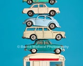 Photograph of a stacked vintage toy cars, shot against a bright blue background - Wall art, kid room, nursery art, colorful, VW, Volvo, Mini