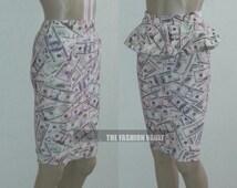 Handmade High Waist Pencil skirt and peplum belt BIG SPENDER
