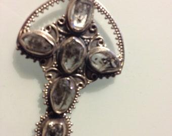 Stunning Halo Cross/ Sterling Silver, Herkimer Diamonds