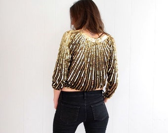 vintage 80s GOLD + black sunburst stripe SEQUIN and beaded silk blouse S-M