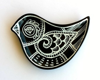 Ceramic Bird Dish Black and White Hand Painted Plate Modern Folk Art Home Decor Ring Dish - MADE TO ORDER