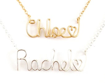 Personalized Custom Name Necklace with heart. Custom Gold or Silver or Rose Gold Name Necklace with heart.