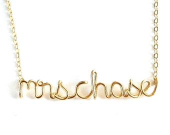 Mrs Name Necklace. Gold Mrs Bridal Necklace. Wedding Day necklace