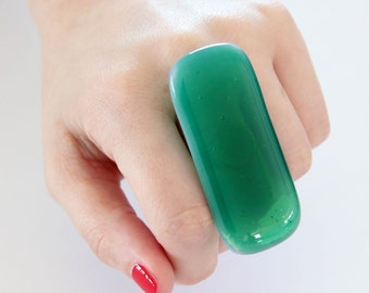 Fused Glass Jewelry Emerald Green Glass Ring - big bold oversize handmade adjustable cocktail ring - EMERALD CITY  - 2.4 inch