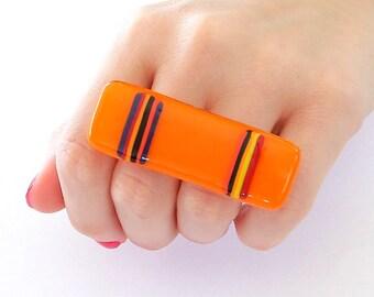 Double Finger Ring Glass - big bold handmade multi finger ring - SUMMER LOVE - 2. 4 inch