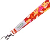 Red Lanyard Floral Fabric Lanyard  ID Badge Holder  --  Ready To Ship