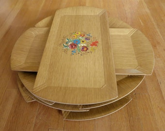 Vintage Hasko Lithograph Trays, Set of Eight Vintage Hasko Lithgraph Trays with Floral Design, Genuine Hasko Trays