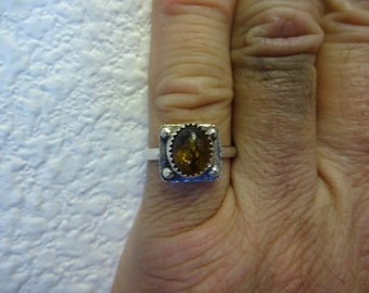 Sterling Silver Baltic Amber Ring - Size 8 1/4 - Free Resizing