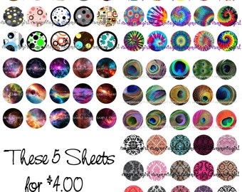 INSTANT DOWNLOAD...Bright Designs Mix ...1 Inch Circle Image Collage for Bottle Caps
