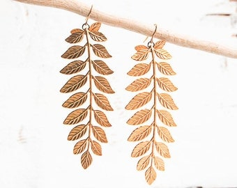 Gold Leaf Earrings, Large Leaf Earrings, Gold Branch Earrings, Gift for Her, Boho Jewelry, Branch Jewelry, Autumn Wedding, Gold Twigs