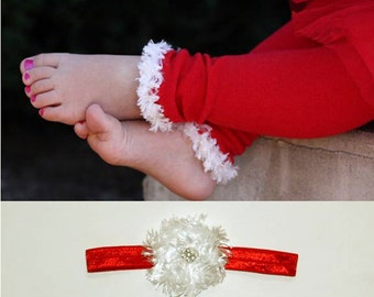 Red and White Christmas Baby Toddler Leg Warmers and Headband