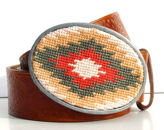 Needlepoint Blushed Aztec Belt Buckle