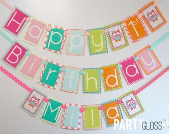 Girly Owl Birthday Party Banner Decorations Fully Assembled