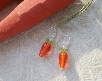 Vegetarian Delight Carrot Earrings - Czech Glass - French Ear Wire