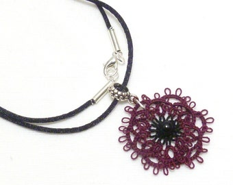 Tatted lace flower Pendant -Rosette in burgundy and black