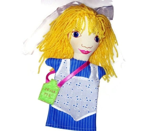 Alice in Wonderland Hand Puppet - One of a Set- Custom Made- Little Girl Puppet/Alice Puppet