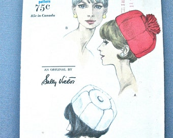 1960s Vintage VOGUE 6432 Hat Sewing Pattern  Designer Sally Victor Hat   Size 21.5 inches