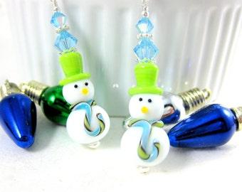 Snowman Earrings, Winter Earrings Christmas Earrings, Fun Holiday Earrings, Lime Aqua Blue Lampwork Earrings, Christmas Jewelry - Icy & Ike