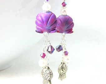Purple Pink Seashell Earrings, Sterling Silver Fish Earrings, Seashell Jewelry, Nautical Earrings, Beach Earrings Lampwork Earrings Scallops