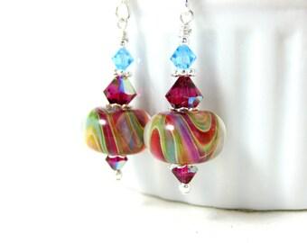 Colorful Lampwork Earrings, Ruby Red Yellow Blue Green Glass Earrings, Dangle Earrings, Boho Earrings, Sterling Silver Jewelry, Boho Jewelry