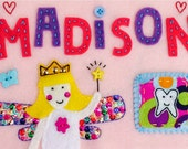 Custum Felt Tooth Fairy Pillow Purple Pink Princess Pillow Personalized