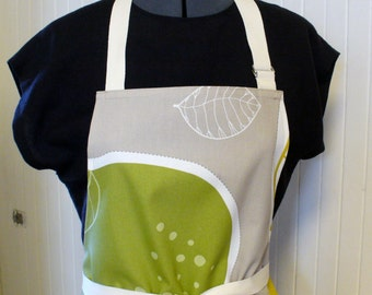 CLEARANCE SALE Ikea Fabric Apron Oversized Leaves Womens Apron Full Apron Chefs Apron Adjustable Apron Taupe Mustard Lime Handmade