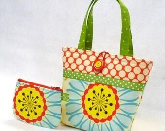 Little Girls Purse Coin Purse Set Pop Garden Daisy Fabric Mini Tote Bag Childs Purse Kids Bag Red Blue Lime Yellow Handmade MTO