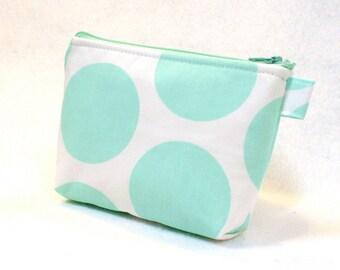 Clearance SALE Mint Green White Jumbo Dot Fabric Bridesmaid Gift Cosmetic Bag Zipper Pouch Makeup Bag Gadget Pouch Dandie Dots Aqua MTO