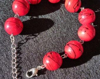 Red Beaded Lobster Clasp Bracelet