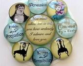 Glass Magnets - Jane Austen Magnets (set of 9) - Pride and Prejudice - Emma - Sense and Sensibility - Persuasion - Darcy & Elizabeth