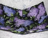 Microwave Bowl Cozy with Pink and Purple Lilacs Covering a Black Background
