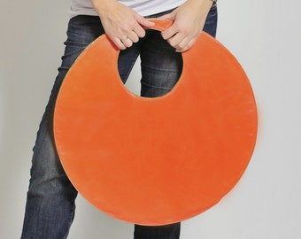 Large tote bag, large clutch, orange circle handbag, large leather handbag,orange and khaki grey bag, round double color