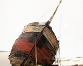 Old boat coastal seaside beach nautical cream read beige landscape - Wrecked 8 x 10