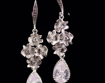 Bridal Jewelry Rhinestone Flower and Teardrop Wedding Earrings