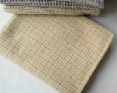 Felted wool in a Neutral Beige - Tan with Brown Windowpane 100% Wool Perfect for Rug Hooking and Applique - Primitive Rug Hooking