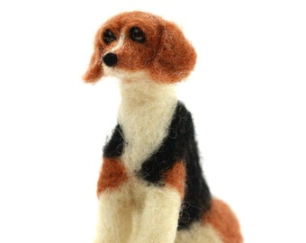 Felted Beagle, Small Custom Dog, Felted Wooly Friend made to order