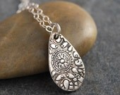 Teardrop Shaped Fine Silver Pendant  Necklace with Abstract Floral Design