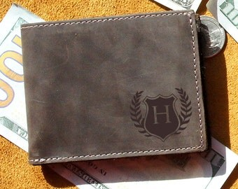 Mens Leather Wallet - Bifold Leather Wallet - Personalized Wallet for Men
