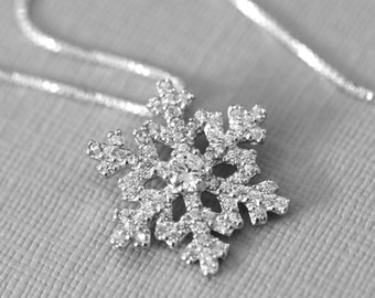 Snowflake Necklace, Sterling Silver and CZ Snowflake Pendant, Christmas Necklace, Christmas Gift, Winter Bridesmaid Necklace, Elsa Necklace