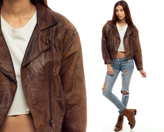 Brown Leather Jacket Leather Biker BOMBER Coat Moto Short