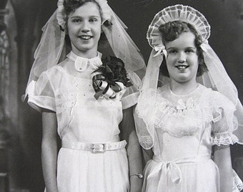 First Communion Portrait of Two Girls Perhaps Fraternal Twins Maybe No Clues on Back You Decide KJD