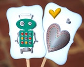 Robots that are Full of Love - Cupcake Toppers