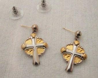 Vintage  Gorham Sterling Silver Celtic Cross Earrings