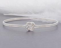 love knot bangle,  sterling silver bracelet, sturdy bangle