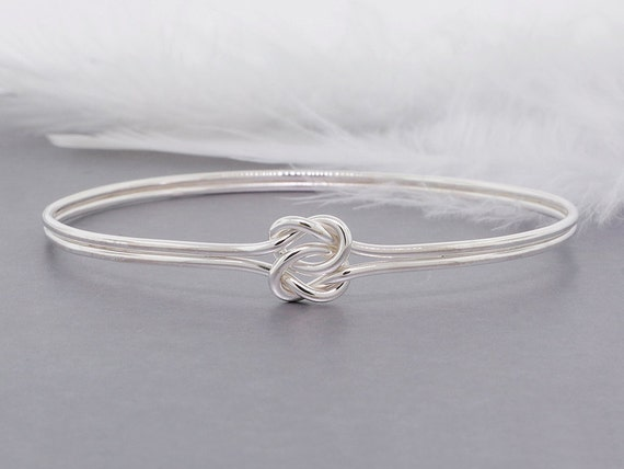 love knot bangle,  sterling silver bracelet, sturdy bangle