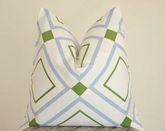 Blue Trellis, Blue Lattice, Decorative Pillow, Throw Pillow, Toss Pillow, Geometric Pillow, Home Furnishing, Handmade Pillow, Made in USA