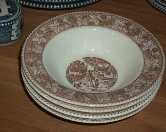1960s Brown and White Currier & Ives- 6 in Salad Bowl, Transferware