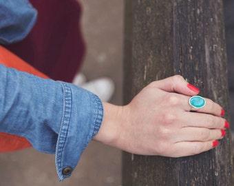 Marina genuine turquoise ring