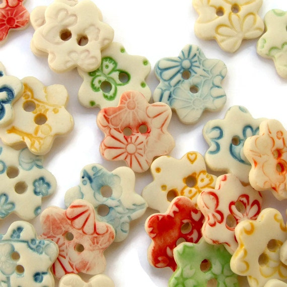 Flower Buttons, Craft Supplies for Scrapbooking Embellishments, Sewing, Knitting, Ceramic Flower Shape Button, Listing price is per button